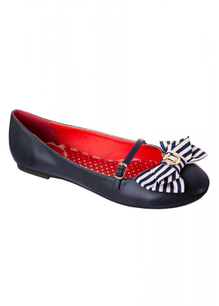 Nautical Style Anchor Strap Ballet Pump Shoe - Rockamilly-Shoes-Vintage