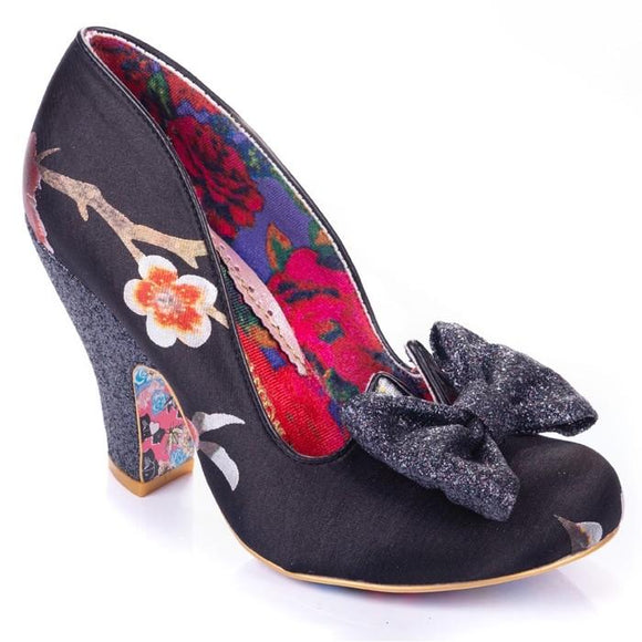 Nick Of Time Black Floral Irregular Choice - Rockamilly-Shoes-Vintage