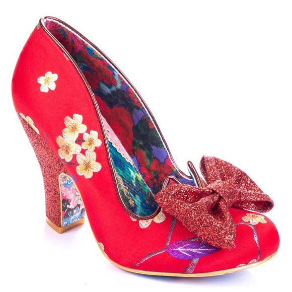 Nick Of Time Red Floral Irregular Choice - Rockamilly-Shoes-Vintage