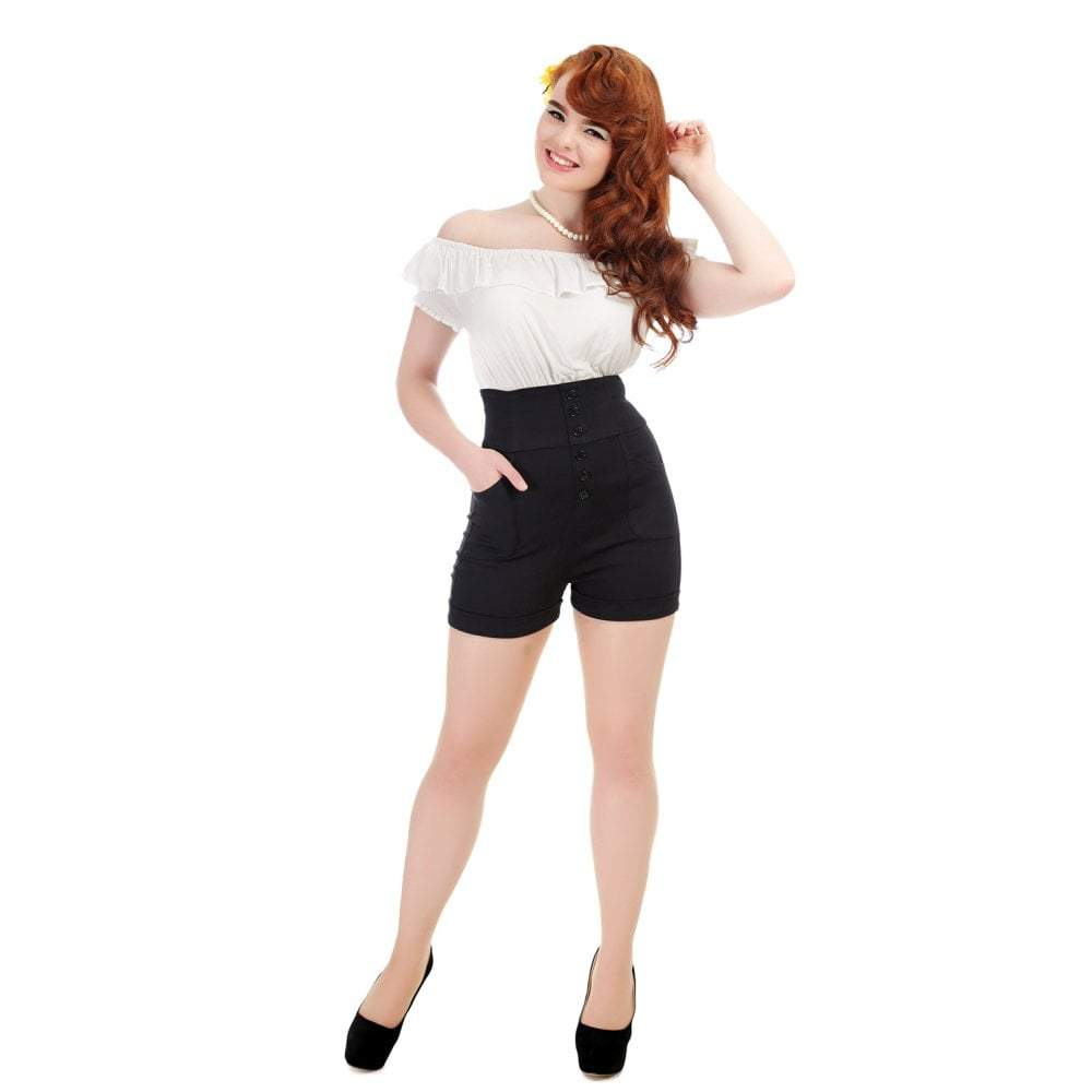 Nomi Black High Waisted Shorts Collectif - Rockamilly-Skirts & Shorts-Vintage