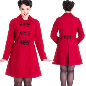 Ox Blood Kira Coat Hell Bunny - Rockamilly-Jackets and Coats-Vintage