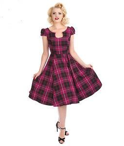 Pink Tartan Swing Dress - Rockamilly-Dresses-Vintage