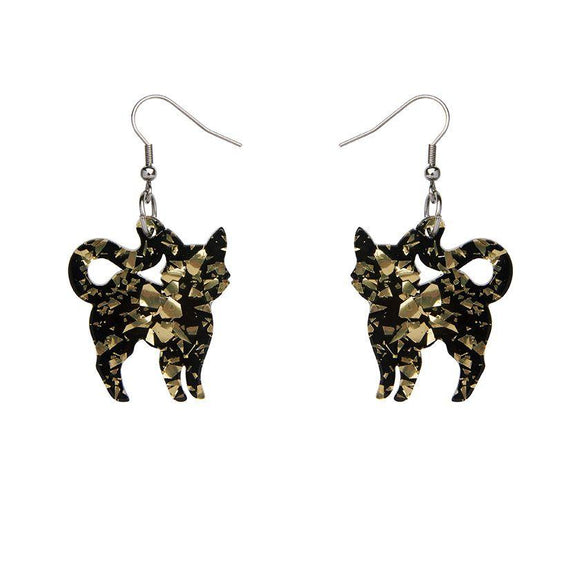 Pussy Cat Chunky Glitter Resin Drop Earrings - Yellow - Rockamilly-Jewellery-Vintage