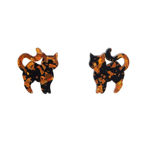 Pussy Cat Chunky Glitter Resin Stud Earrings - Orange - Rockamilly-Jewellery-Vintage