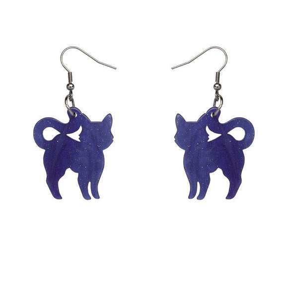 Pussy Cat Ripple Glitter Resin Drop Earrings - Purple - Rockamilly-Jewellery-Vintage