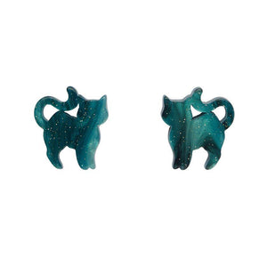 Pussy Cat Ripple Glitter Stud Earrings - Green - Rockamilly-Jewellery-Vintage