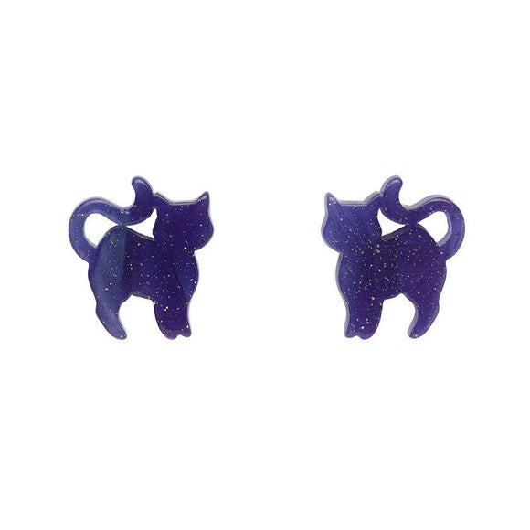 Pussy Cat Ripple Glitter Stud Earrings - Purple - Rockamilly-Jewellery-Vintage