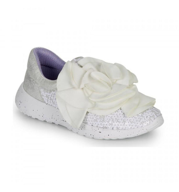Ragtime Ruffle White Trainers - Rockamilly-Shoes-Vintage