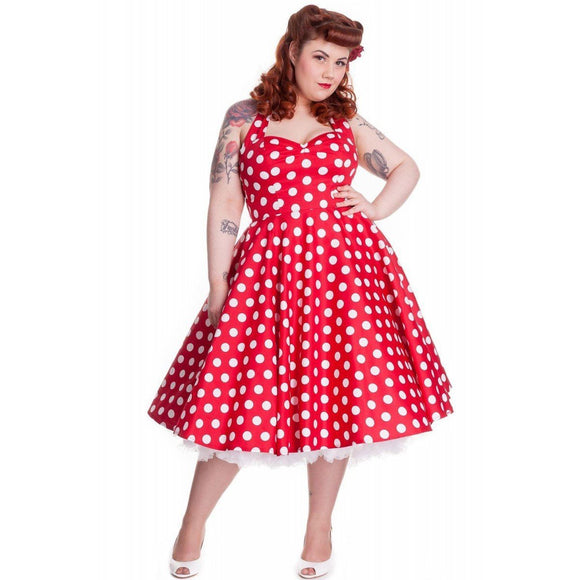 Red Polka Mariam Halterneck Swing Dress Hell Bunny - Rockamilly-Dresses-Vintage
