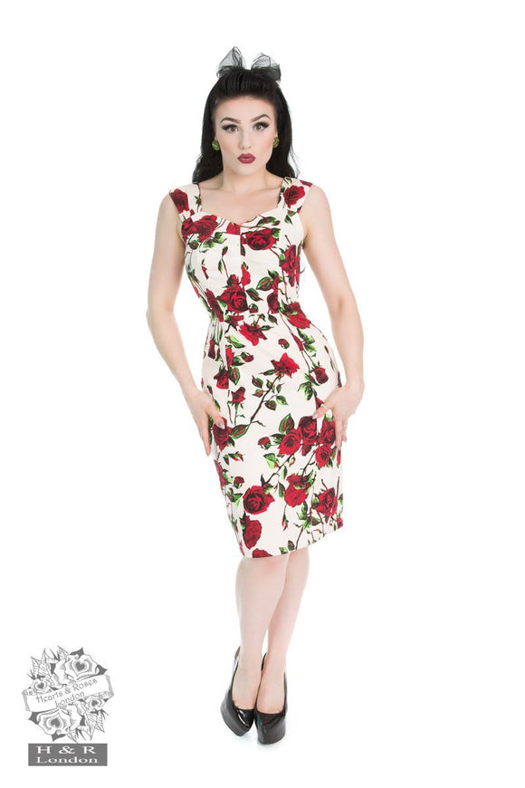 Red Rose Wiggle - Rockamilly-Dresses-Vintage