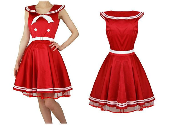 Red Sailor Nautical Dress - Rockamilly-Dresses-Vintage