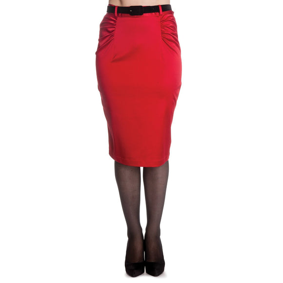 Red Sateen Rouche Pencil Wiggle Skirt - Rockamilly-Skirts & Shorts-Vintage