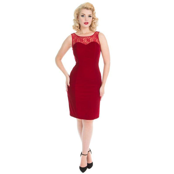 Red Velvet and Lace Pencil Dress - Rockamilly-Dresses-Vintage