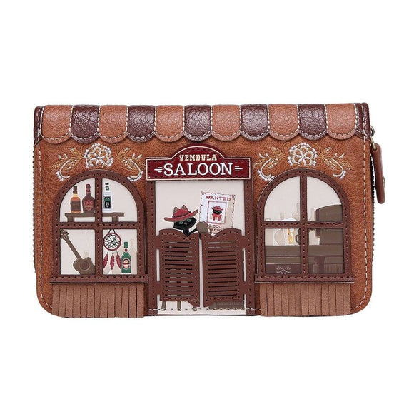 Saloon Medium Ziparound Wallet - Rockamilly-Bags & Purses-Vintage