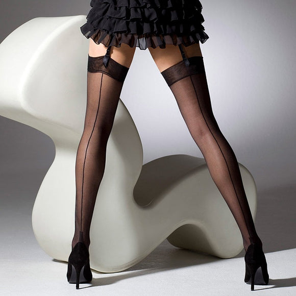Seamed French Heel Black Stockings - Rockamilly-Hosiery-Vintage