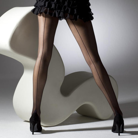Seamed French Heel Black Tights - Rockamilly-Hosiery-Vintage