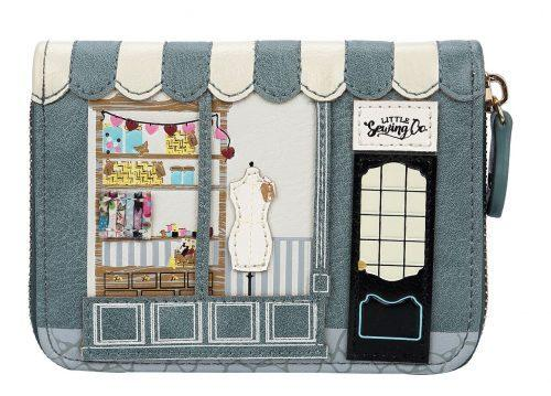 Sewing Shop Denim Medium Zip Around Wallet - Rockamilly-Bags & Purses-Vintage