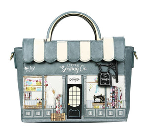 Sewing Shop Denim Vanity Bag - Rockamilly-Bags & Purses-Vintage