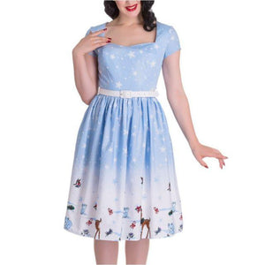 Snow Fall Swing Dress - Rockamilly-Dresses-Vintage