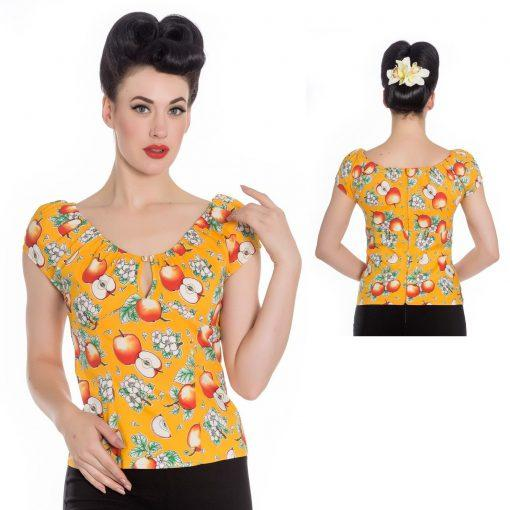 Somerset Apple Top Orange - Rockamilly-Tops-Vintage