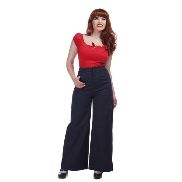 Sophia Trousers Navy - Rockamilly-Bottoms-Vintage
