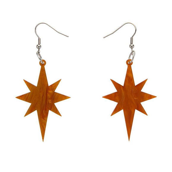 Starburst Gold Ripple Resin Drop Earrings Erstwilder - Rockamilly-Jewellery-Vintage