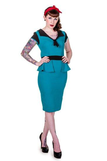 Teal Peplum Pencil Wiggle Dress Black Trim - Rockamilly-Dresses-Vintage