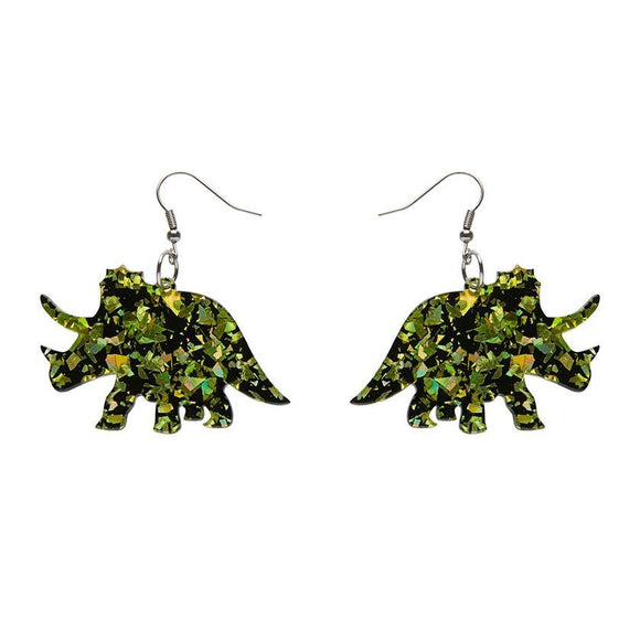 Triceratops Chunky Glitter Resin Drop Earrings - Lime - Rockamilly-Jewellery-Vintage