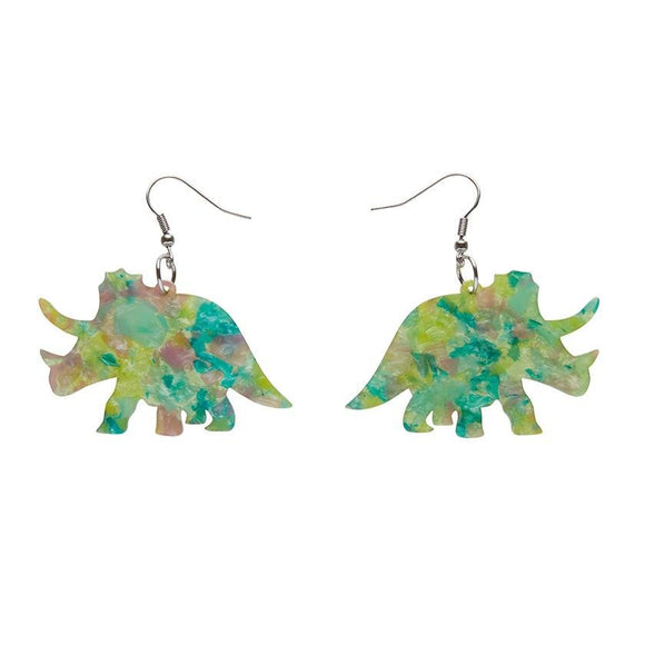 Triceratops Mottled Resin Drop Earrings - Green - Rockamilly-Jewellery-Vintage