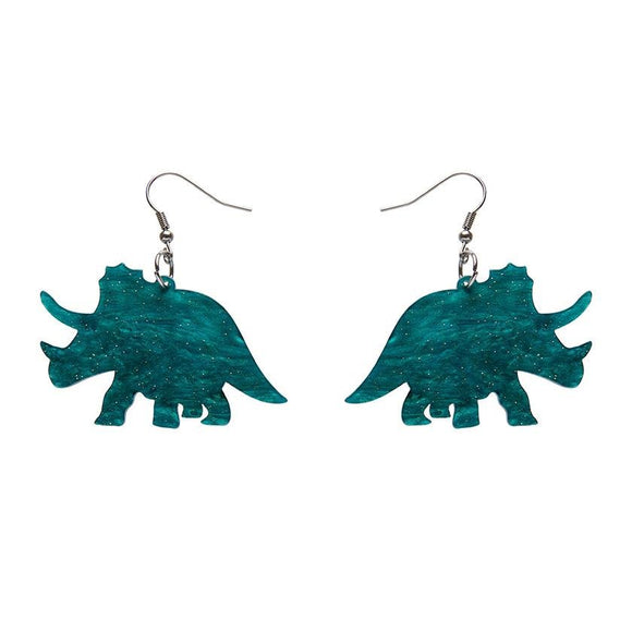 Triceratops Ripple Glitter Resin Drop Earrings - Emerald - Rockamilly-Jewellery-Vintage