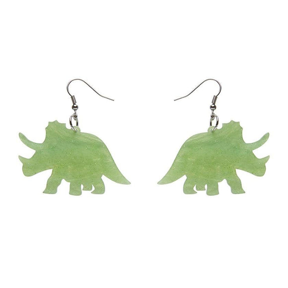 Triceratops Ripple Glitter Resin Drop Earrings - Lime - Rockamilly-Jewellery-Vintage