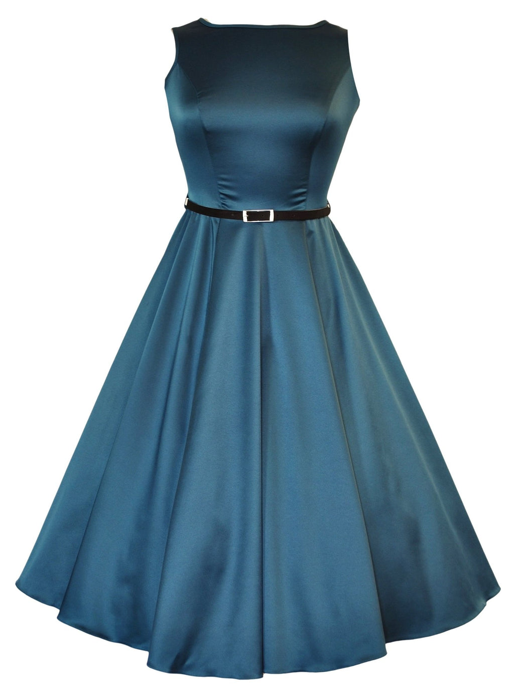 Turquoise Audrey Style Dress with Black Slim Belt - Rockamilly-Dresses-Vintage