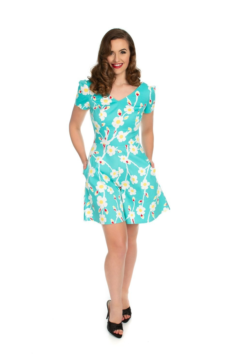Turquoise Floral Playful Playsuit H&R London - Rockamilly-Dresses-Vintage