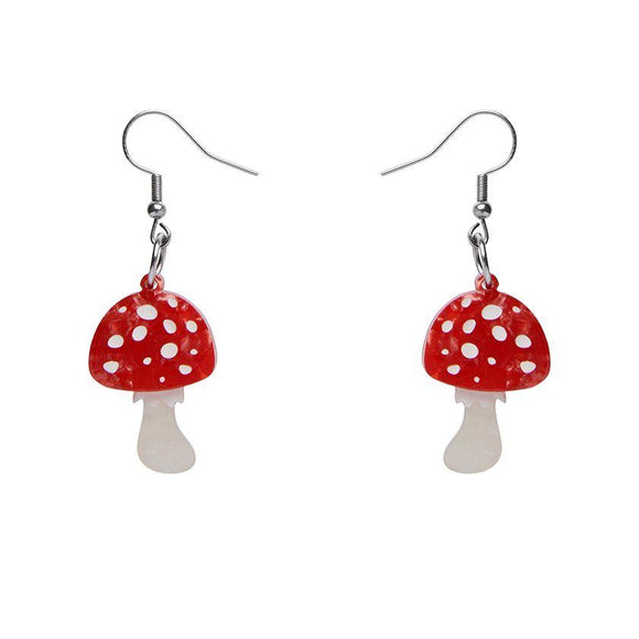 Twinning Toadstools Drop Earrings Erstwilder - Rockamilly-Jewellery-Vintage