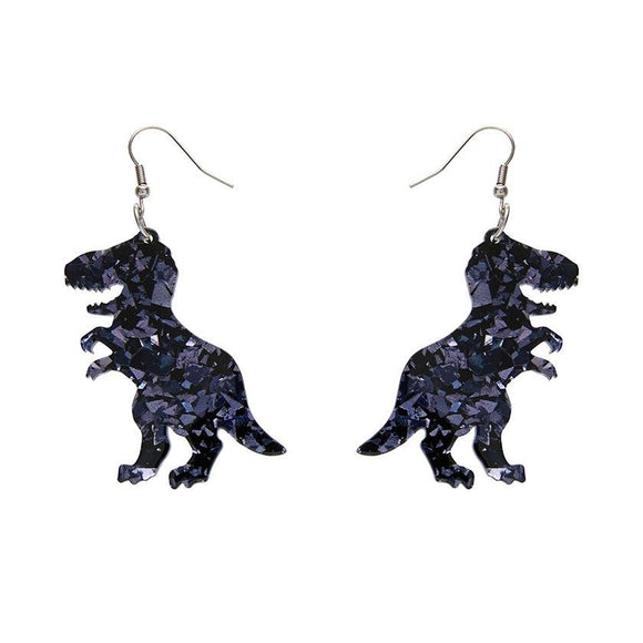 Tyrannosaurus Chunky Glitter Resin Drop Earrings - Black - Rockamilly-Jewellery-Vintage