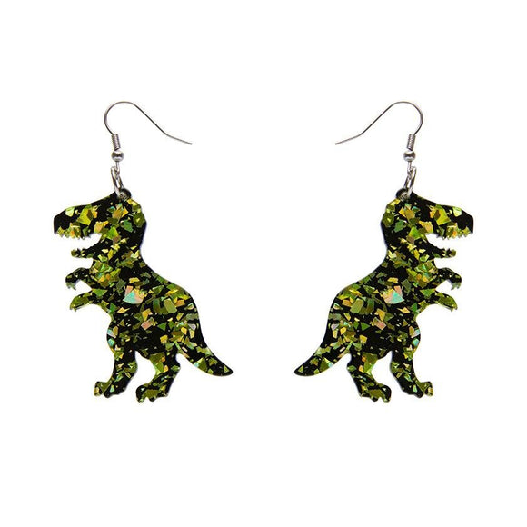 Tyrannosaurus Chunky Glitter Resin Drop Earrings - Lime - Rockamilly-Jewellery-Vintage