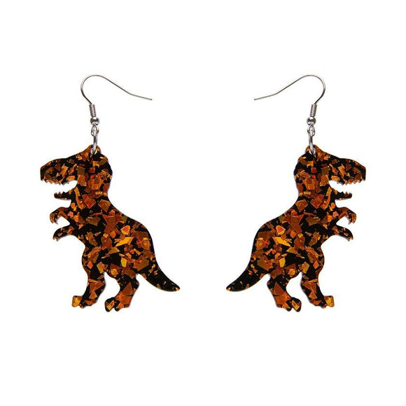 Tyrannosaurus Chunky Glitter Resin Drop Earrings - Orange - Rockamilly-Jewellery-Vintage