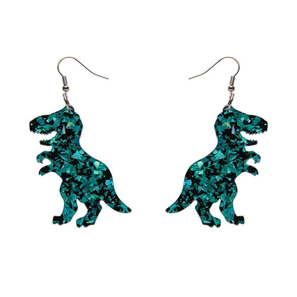 Tyrannosaurus Chunky Glitter Resin Drop Earrings - Teal - Rockamilly-Jewellery-Vintage