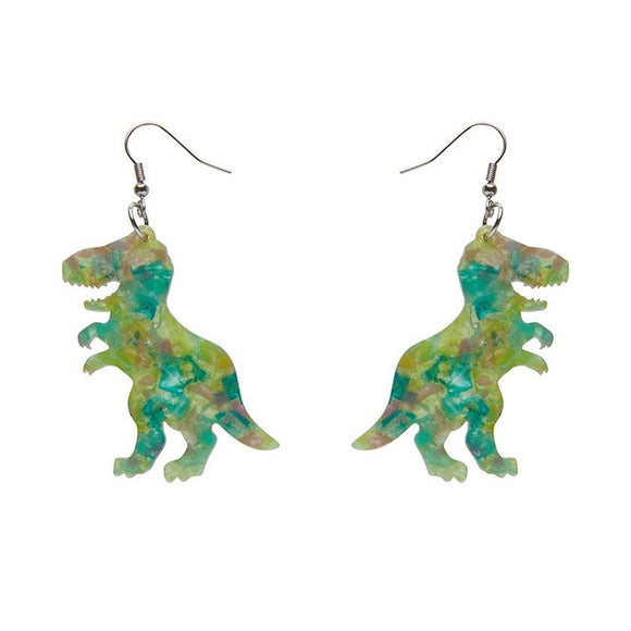 Tyrannosaurus Mottled Resin Drop Earrings - Green - Rockamilly-Jewellery-Vintage