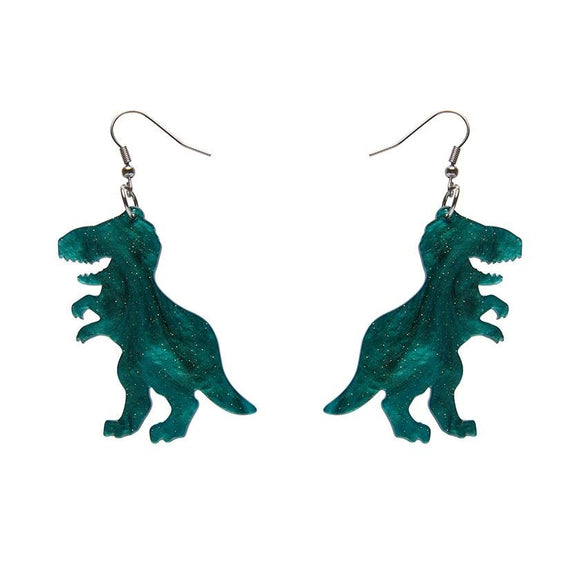 Tyrannosaurus Ripple Glitter Resin Drop Earrings - Emerald - Rockamilly-Jewellery-Vintage