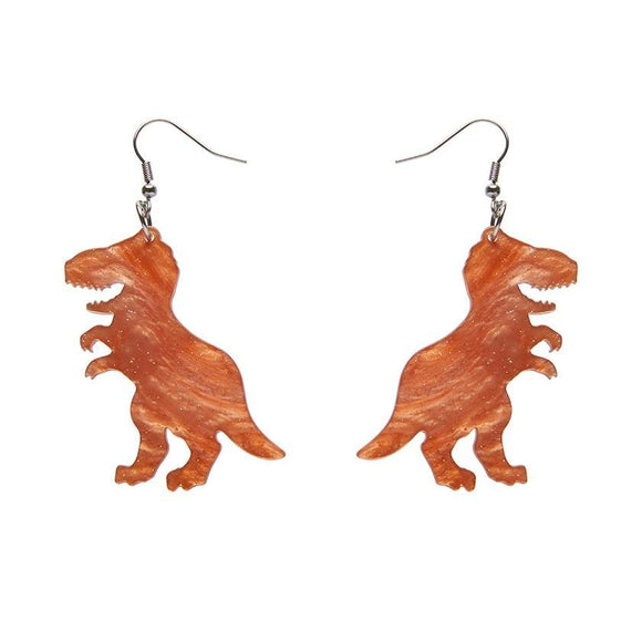 Tyrannosaurus Ripple Glitter Resin Drop Earrings - Orange - Rockamilly-Jewellery-Vintage