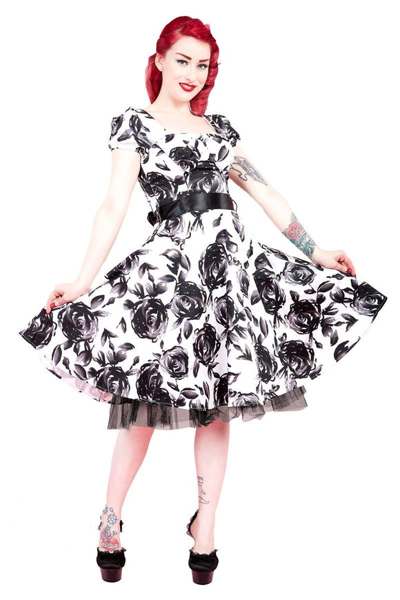 White Black Vintage Floral Long Dress - Rockamilly-Dresses-Vintage