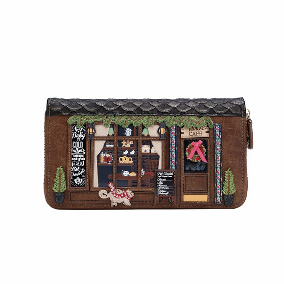 Winter Cafe Large Zip Around Wallet Vendula - Rockamilly-Bags & Purses-Vintage