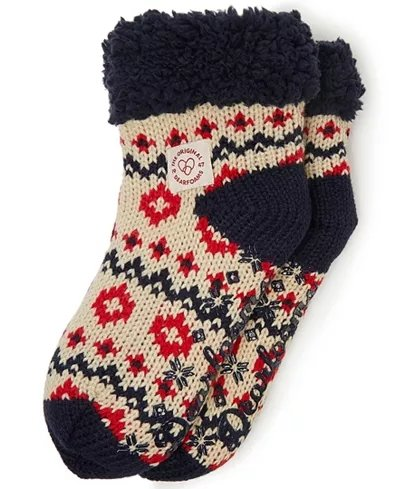 Women's Chunky Knit Blizzard Slipper Sock - Latte - Rockamilly-Accessories-Vintage