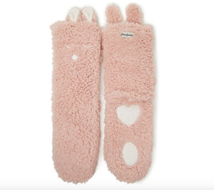 Women's Fluffy Animal Slipper Socks - Dusky Pink - Rockamilly-Accessories-Vintage