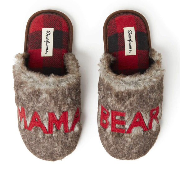 Women's Furry Mama Bear Scuff Slipper - Rockamilly-Accessories-Vintage
