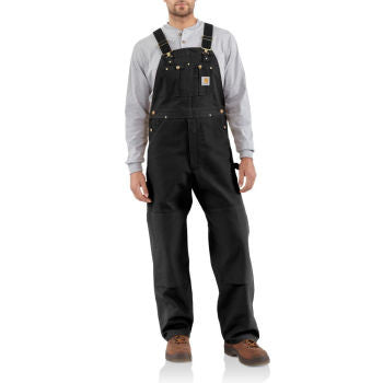 Carhartt Style # R01: Black Men's Duck Bib Overall/Unlined