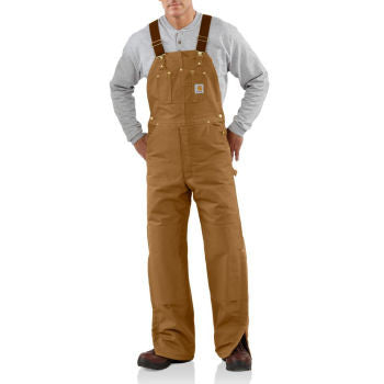 Carhartt Style # R02: Brown or Black Men's Duck Bib Overall / Quilt Lined