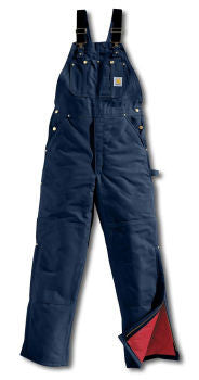 Carhartt Style # R02: Navy Men's Duck Bib Overall / Quilt Lined