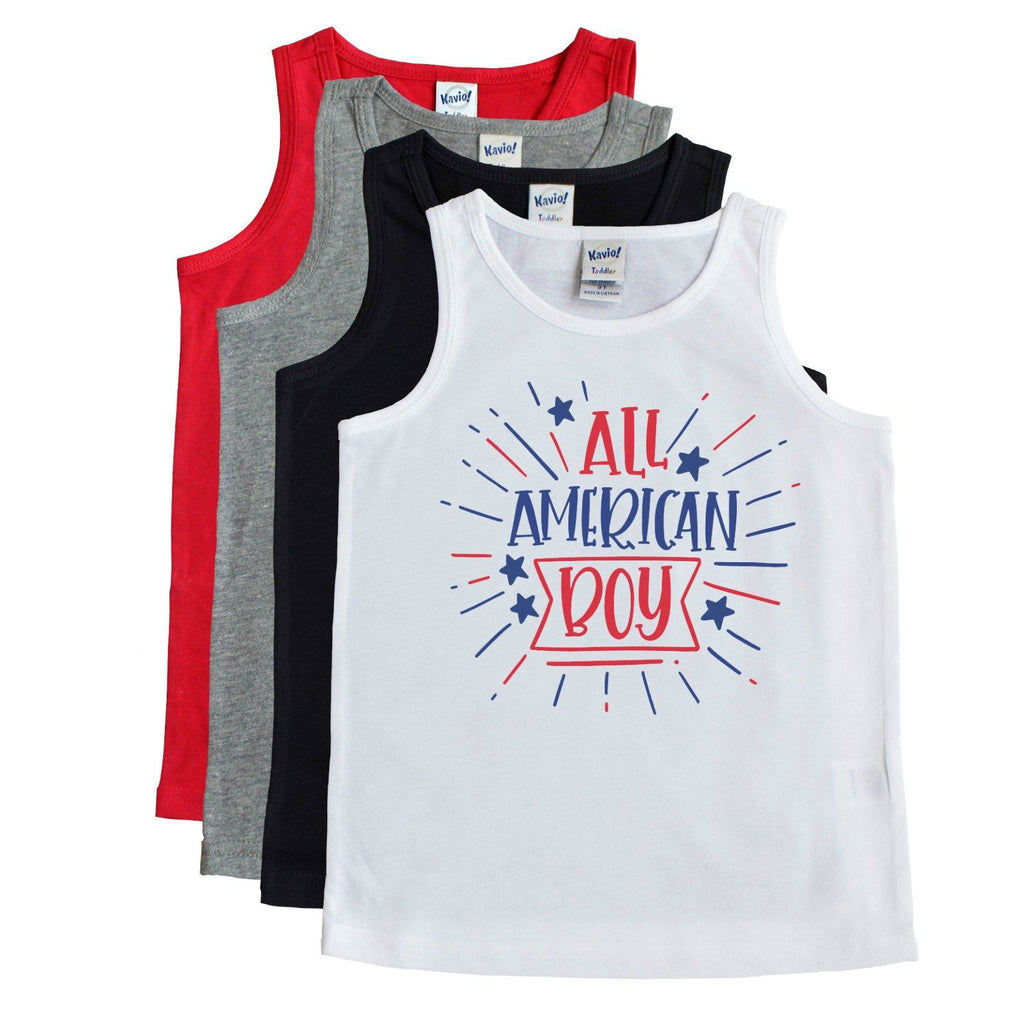 White toddler tank atop other tank color options that says All American Boy in Red and blue